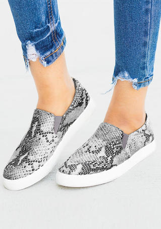Snake Skin Printed Round Toe Sneakers - Multicolor
