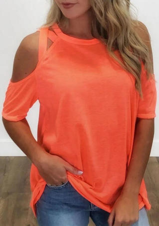 Jersey Strappy Shoulder  Blouse Top- Brilliant Orange