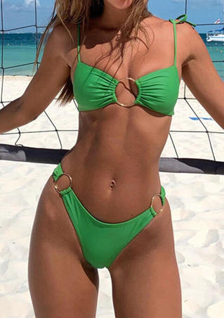 Solid Circle Ruffled Tie Bikini Set - Green