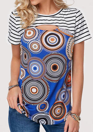 Geometric Printed Striped Hollow Out Blouse - Royal Blue