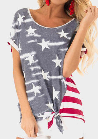 Star American Flag Tie Blouse - Gray