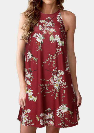 Floral Sleeveless Mini Dress - Burgundy