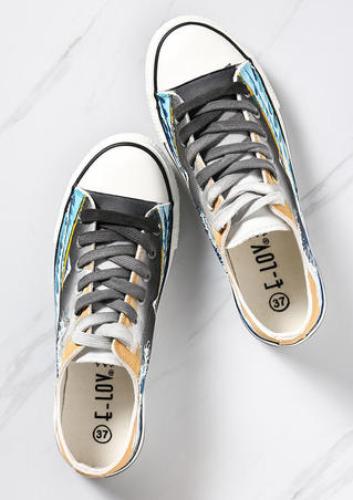 Hand-Painted Wave Lace Up Sneakers - Mutilcolor