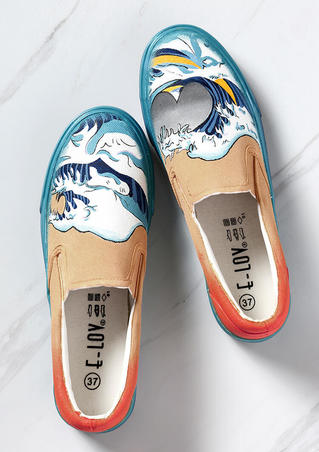 Hand-Painted Wave Flat Sneakers - Multicolor