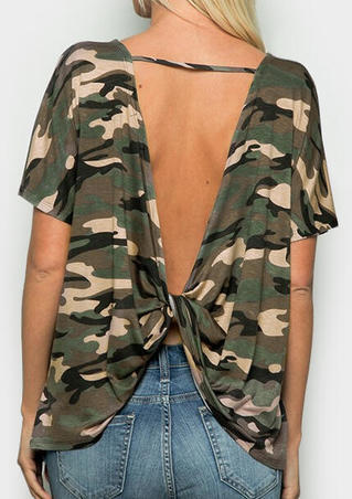 Camouflage Printed Open Back Blouse