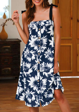 Sunflower Button Tie Casual Dress - Navy Blue