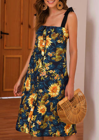 Sunflower Button Tie Casual Dress - Yellow