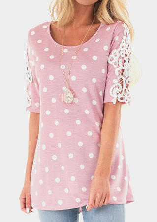 Polka Dot Lace Splicing Blouse without Necklace - Pink