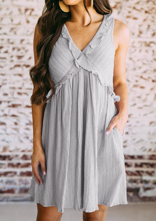 Solid Cross Ruffled Mini Dress - Gray