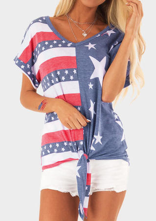 American Flag Star Asymmetric Tie Blouse without Necklace - Stripe