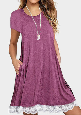 Lace Splicing Pocket Casual Dress - Burgundy