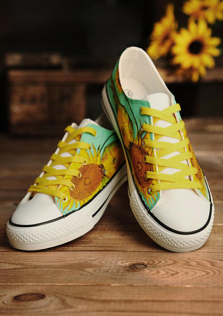 Hand-Painted Sunflower Lace Up Sneakers - Yellow
