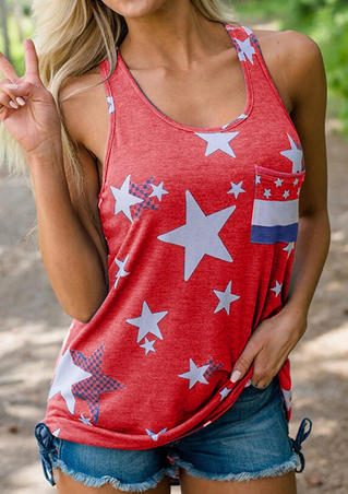 Star American Flag Printed Pocket Tank - Red