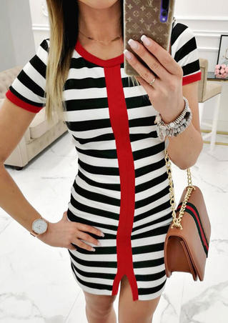Color Block Striped Slit Mini Dress without Necklace - Stripe