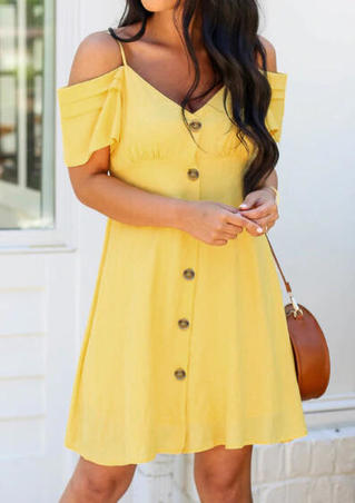 Solid Ruffled Button Cold Shoulder Mini Dress - Yellow