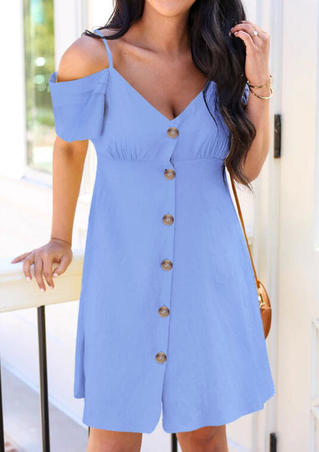 Solid Ruffled Button Cold Shoulder Mini Dress - Blue