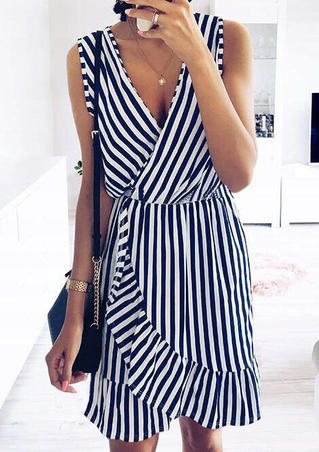 Striped Ruffled Mini Dress without Necklace - Stripe