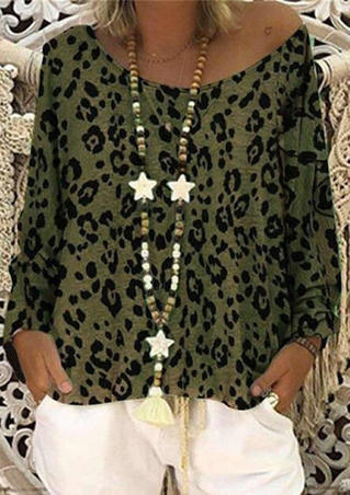 Leopard Printed Slash Neck Blouse without Necklace - Army Green