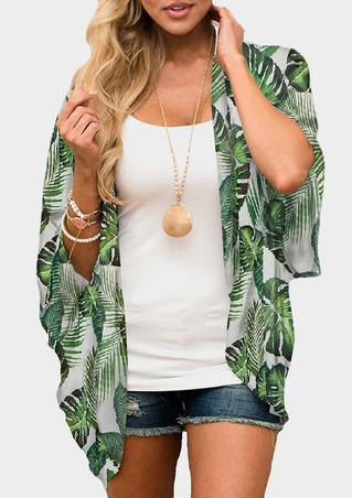 Leaf Printed Cardigan without Necklace - Green