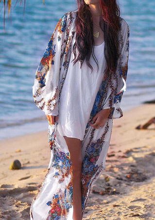 Floral  Long Sleeve Cardigan without Necklace - White