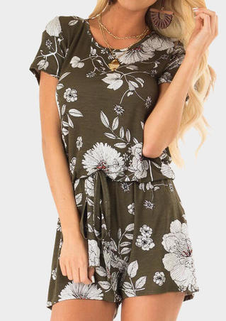 Floral Drawstring Romper without Necklace - Army Green