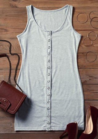 Solid Button Sleeveless Bodycon Dress - Gray