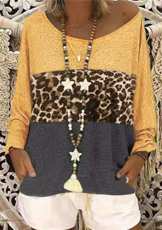 Leopard Printed Splicing T-Shirt Tee without Necklace - Yellow