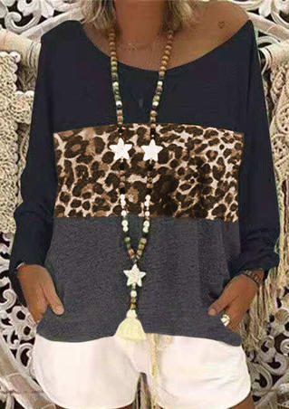 Leopard Printed Splicing T-Shirt Tee without Necklace - Dark Grey