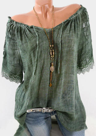 Solid Lace Splicing Ruffled Blouse without Necklace - Green
