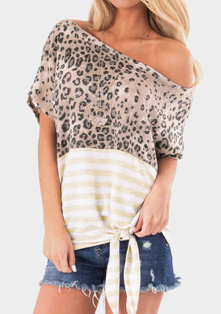 Leopard Printed One Shoulder Blouse without Necklace - Leopard