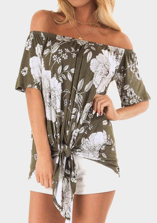 Floral Off Shoulder Tie Blouse without Necklace - Army Green
