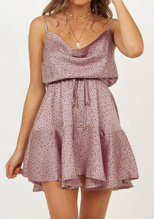 Polka Dot Open Back Mini Dress without Necklace - Pink