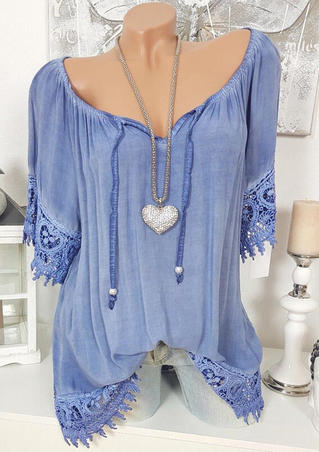 Solid Lace Splicing Off Shoulder Tie Blouse without Necklace - Blue