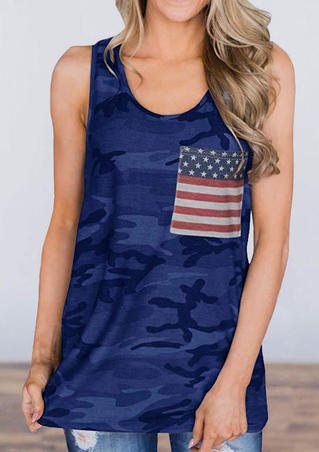 Camouflage Printed American Flag Pocket Tank - Deep Blue