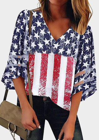 American Flag  Star V-Neck Blouse - Navy Blue