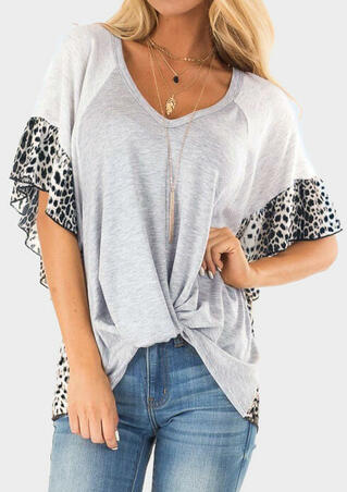 Leopard Printed Splicing Ruffled Blouse without Necklace - Gray