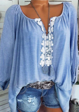 Flower Splicing Ruffled Blouse without Necklace - Lake Blue