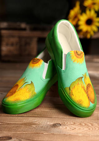 Hand-Painted Sunflower Sneakers - Green