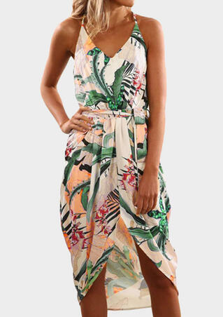 Printed Slit Asymmetric Tie Casual Dress - Multicolor