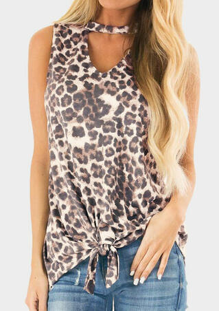 Leopard Printed Hollow Out Tie Tank