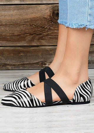 Zebra Skin Printed Criss-Cross Sandals - Stripe