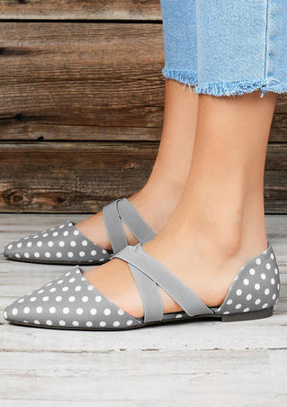 Polka Dot Pointed Toe Flat Sandals - Gray