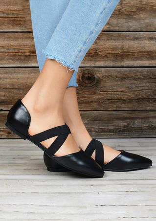 Solid Criss-Cross Elastic Band Sandals - Black