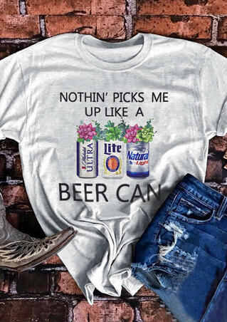 Nothin' Picks Me Up Beer Can T-Shirt Tee - Gray