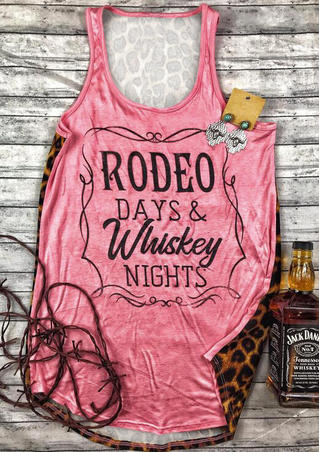 Leopard Printed Rodeo Days & Whiskey Nights Tank - Pink