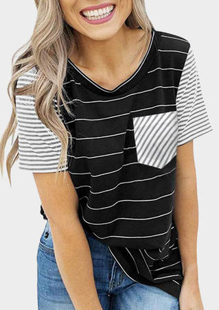 Striped Splicing Pocket T-Shirt Tee - Black