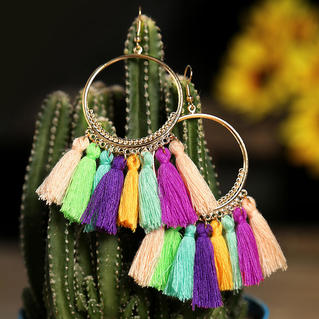 Bohemian Ethnic Tassel Earrings - Multicolor