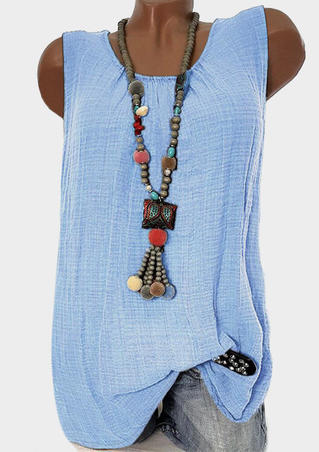 Solid Ruffled O-Neck Tank without Necklace - Sky Blue