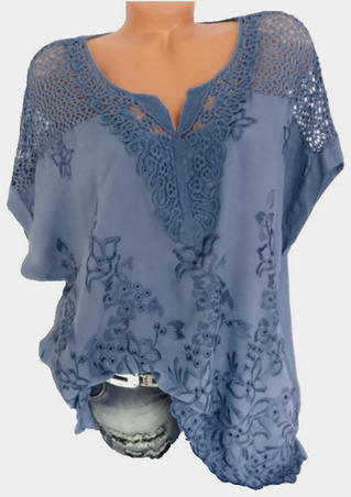 Solid Floral Lace V-Neck Blouse - Blue