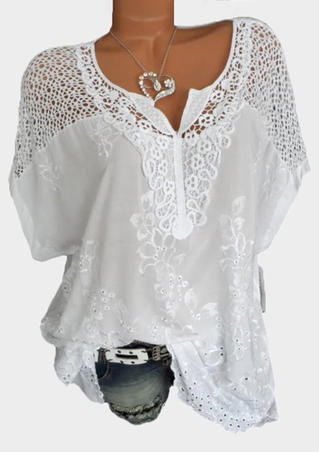 Solid Floral Lace V-Neck Blouse - White